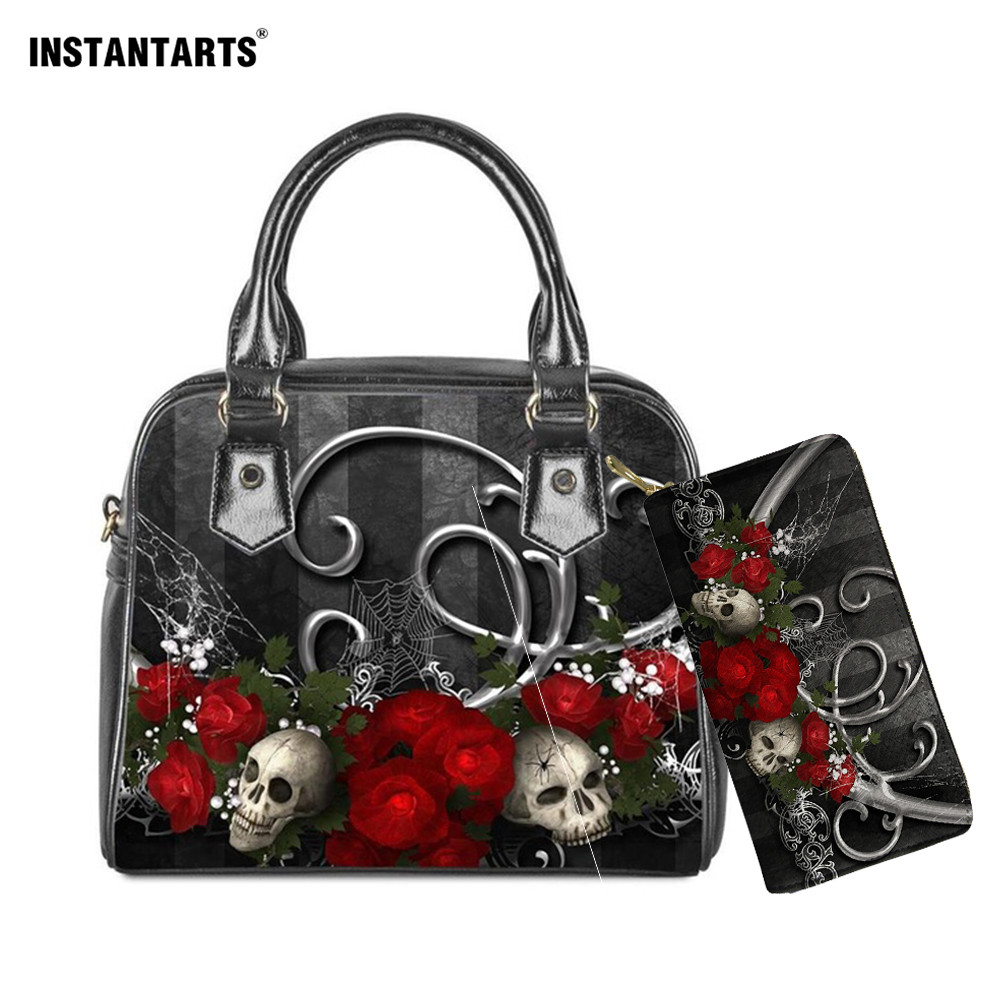 INSTANTART Gothic Bag For Woman Skull Pattern Ladies Luxury Handbag Woman Designer Shoulder Females Bags Travel Crossbody Bag