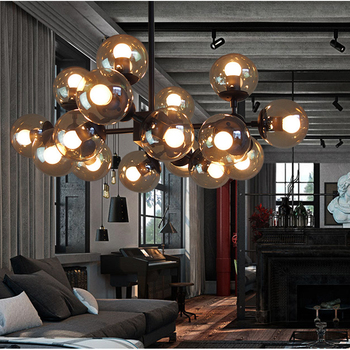 Vintage round ball industrial LOFT Iron pendant lights Modern droplight glass round ball classic luminaria LED pendant lamp