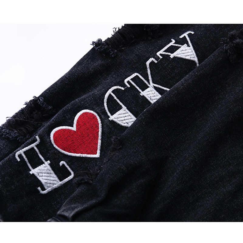جديد أزياء الدنيم سترة النساء الخريف الشتاء زائد حجم أسود الجينز معاطف الإناث إلكتروني طباعة الشعر حافة طويلة الدنيم قميص g590