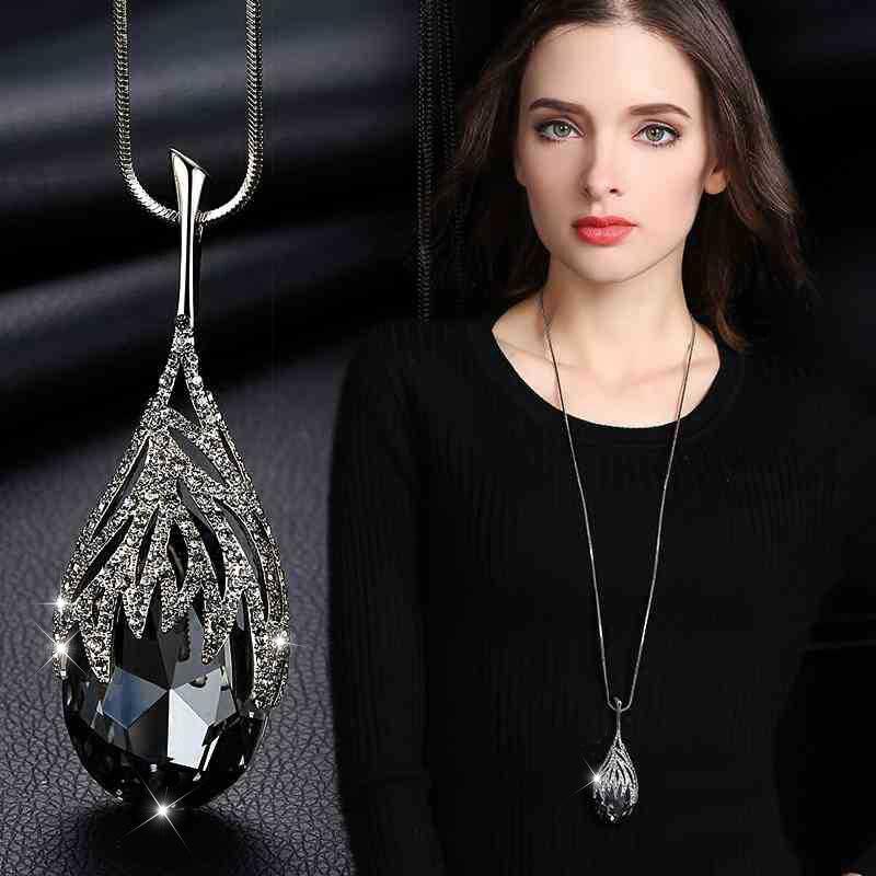 Новое поступление Длинные ожерелья для женщин 2020 модное серое Хрустальное колье для женщин эффектные ожерелья и кулоны аксессуары Ожерелья с подвеской      АлиЭкспресс