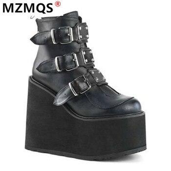 2020 зимние сапоги с металлической пряжкой; Ботильоны женские ботфорты в стиле «панк», женские туфли на платформе; Туфли на высокой танкетке, ...