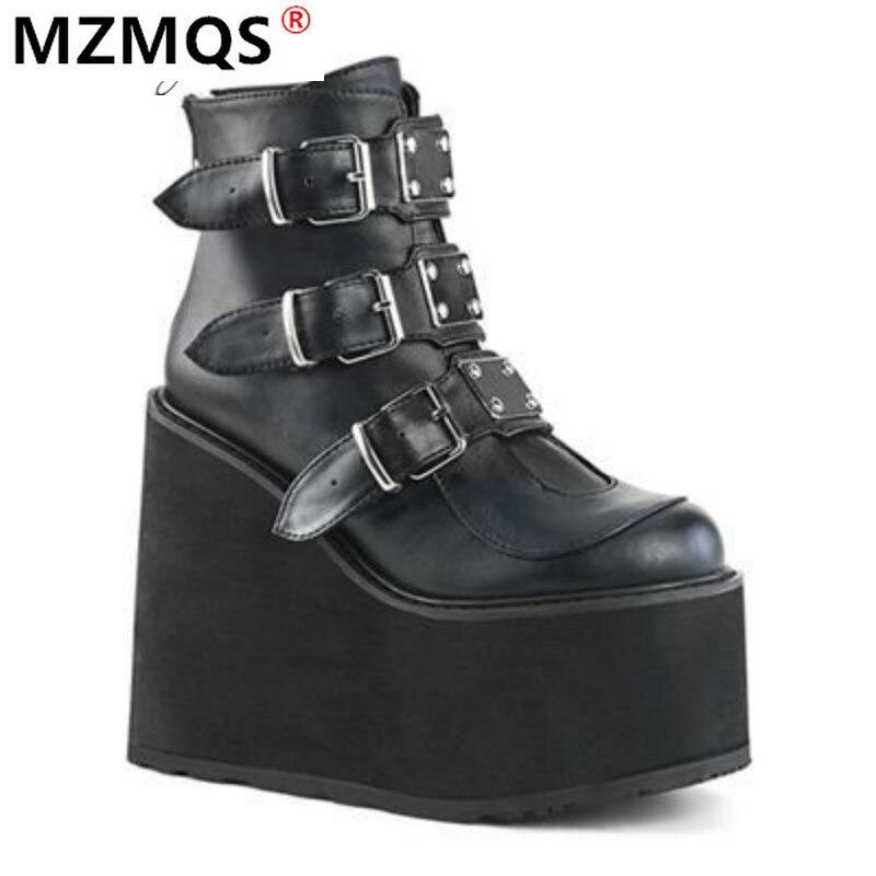 Hot Price #742ff3 2020 Winter Metal Buckle Ankel Boots