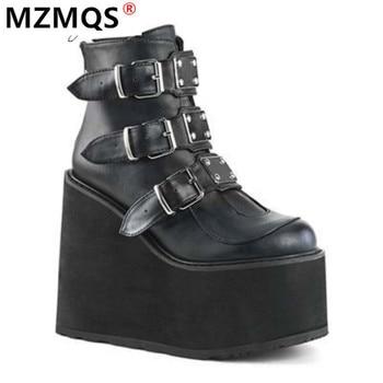 2020 Winter Metal Buckle Ankel Boots Women Punk Female Platform Boots Wedges High Heels PU Women Boots Botas Mujer Plus Size
