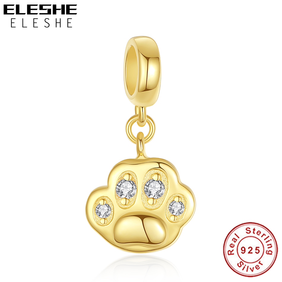ELESHE 원래 925 스털링 실버 참 비드 스파클링 발 인쇄 골드 매달려 매력 유럽 팔찌 여성 DIY 쥬얼리
