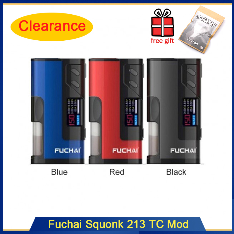 Clearance! Original Fuchai Squonk 213 150W Box Mod With 0.96 Inch TFT Color Screen Fit 20700 18650 Battery 510 Thread Vape Mod