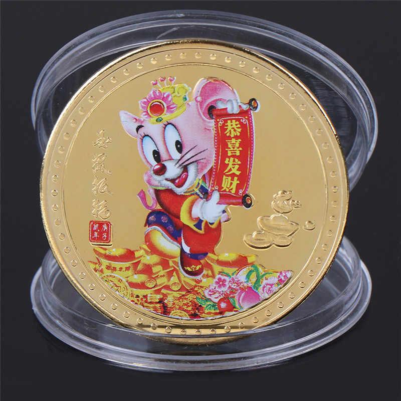 Carino Ratto Placcato Non-Valuta Monete Complementi Arredo Casa Zodiaco Cinese Argento Monete da Collezione Animale Copia Monete per I Regali di Compleanno