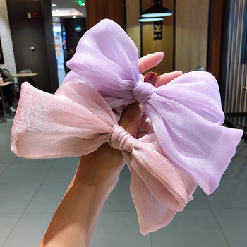 цена на Women Hair Accessories Organza Elastic Hair Bands for Girls Handmade Scrunchies with Jumbo Knot Chic Headwear for Ladies