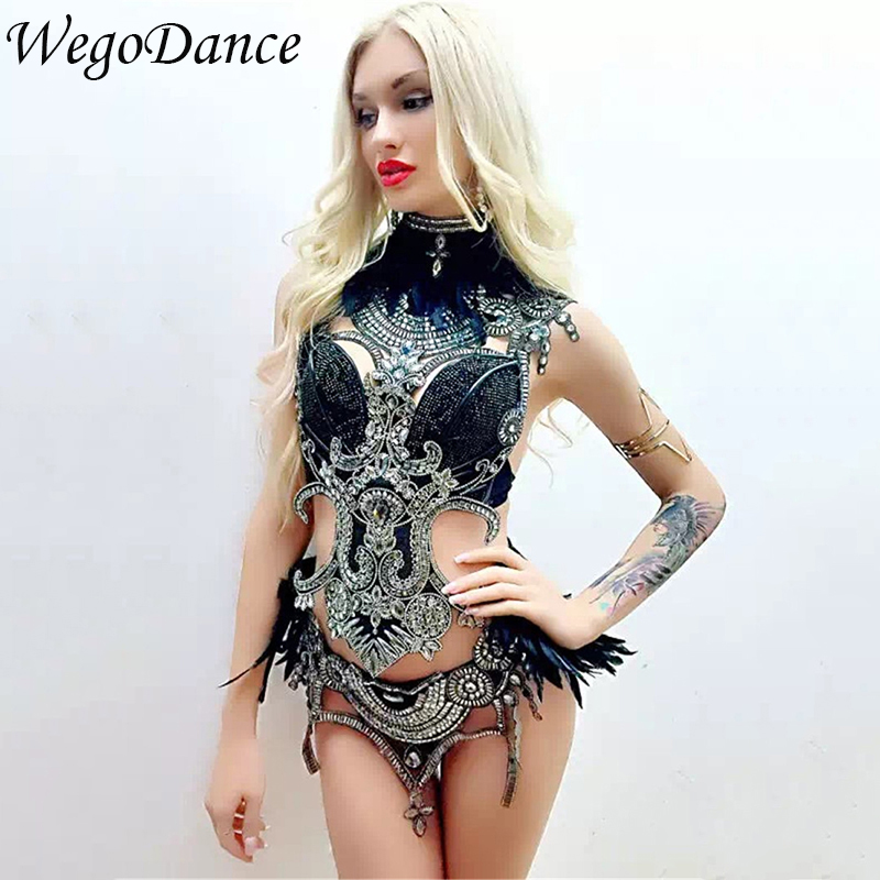 New Women's Nightclub Stage Costumes Singer Water Rhinestones DJ Dancer Dance Cost Sexy Black Ostrich Hair Performance Tights