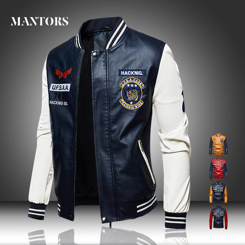 Men Leather Jacket Casual Thick Fleece Mens PU Bomber Baseball Jackets Stand Collar Fitness Embroidery Male Pilot Outerwear Coat