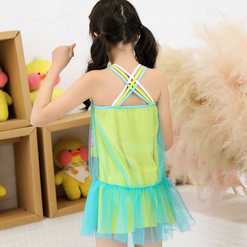 New Style Children GIRL'S Bathing Suit One-piece Gauze Princess Dress-Korean-style Cute Fashion KID'S Swimwear