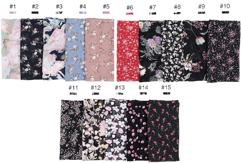 Image 2 - 115cm Printe chiffon Square hijab scarf chiffon wraps flower shawls muslim lightweight headband wraps islamic scarves 10pcs/lot-in Women's Scarves from Apparel Accessories