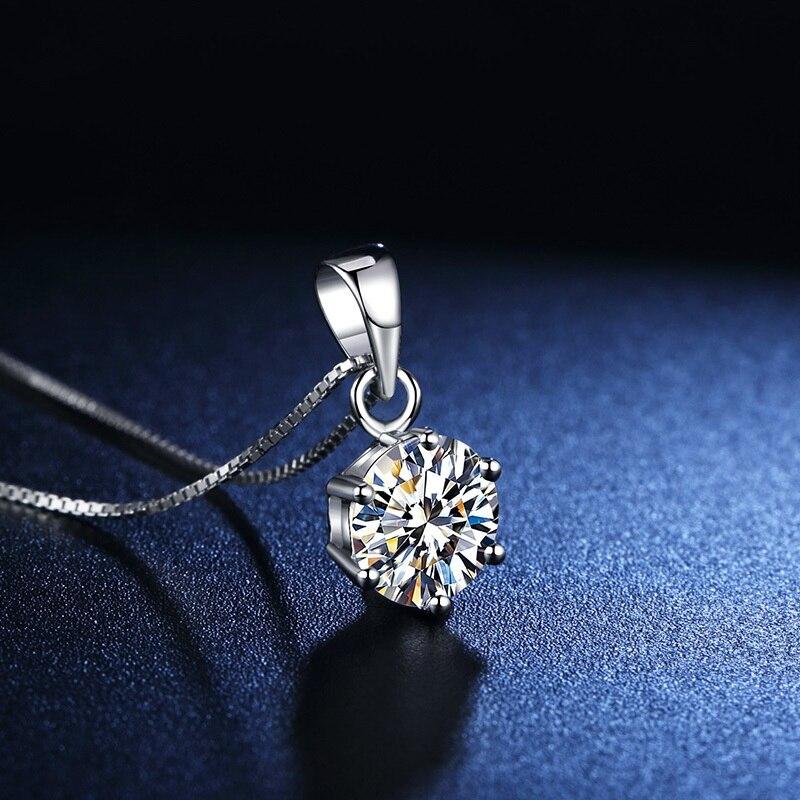 BOEYCJR 925 argent 0. 5ct/1ct/2ct D couleur Moissanite VVS fiançailles élégant collier pendentif de mariage pour les femmes cadeau d'anniversaire