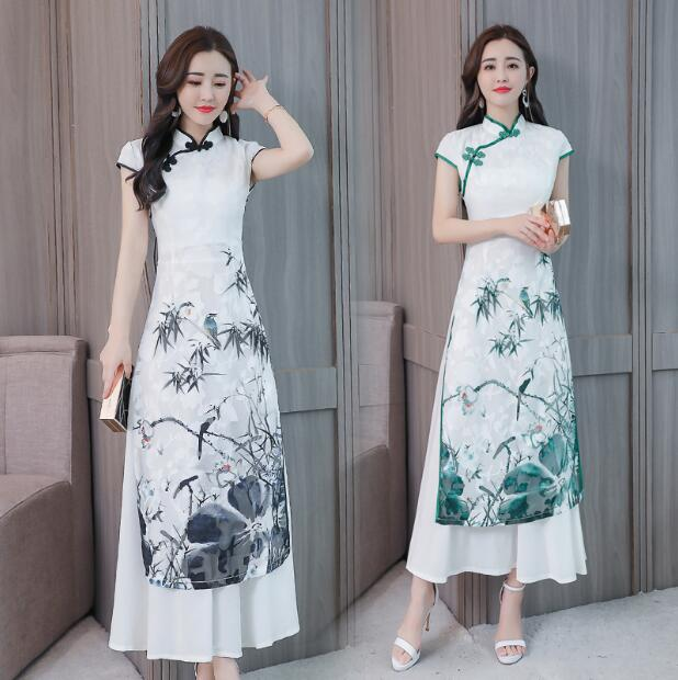 2018 New Style Ao Dai Chinese Cheongsam Dress Chiffon Dresses Summer Long Vintage