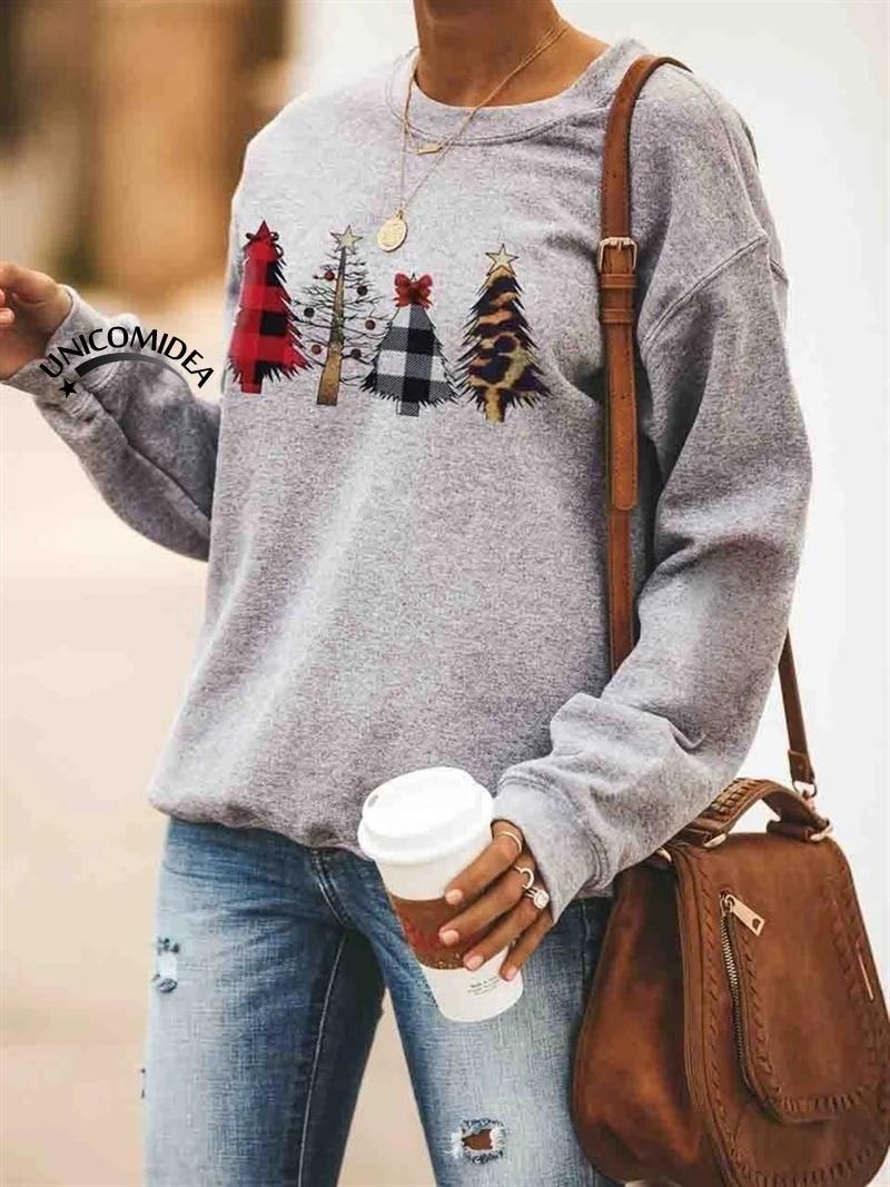 Autumn Winter 2019 Christmas Tree Plaid Printed Pullover Women Hoodies Sweatshirt Christmas Basic Tops