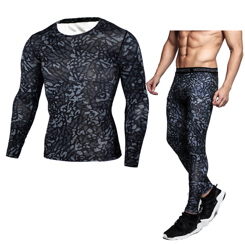 2 PieceTracksuit Men Compression Sweatshirt+leggings Sportwear Suit Elastic Frivolous Tracksuit Set Male   Dec26