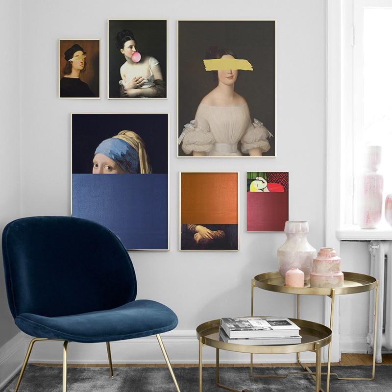Dünyaca ünlü resim duvar sanatı fantezi tuval posterler ve baskılar şekil yaratıcı duvar resmi oturma odası dekorasyon için
