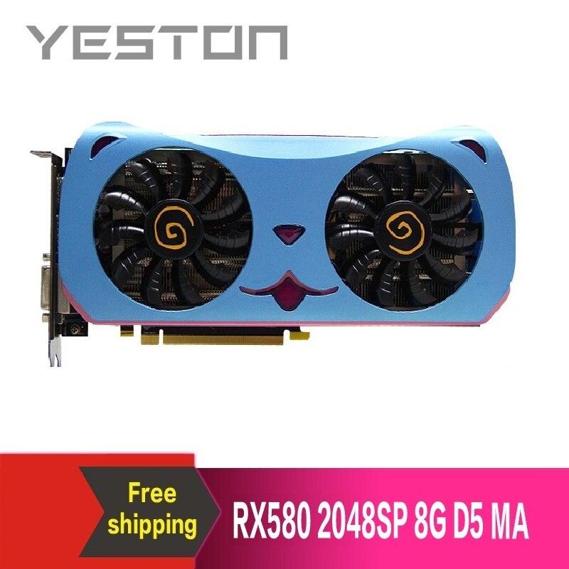 Yeston Radeon RX580 2048SP-8G GDDR5 CUTE PET PCI Express x16 3.0 video gaming graphics card external graphics card for desktop 1