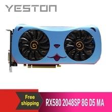 Yeston Radeon RX580 2048SP 8G GDDR5 mignon animal de compagnie PCI Express x16 3.0 carte graphique de jeu vidéo carte graphique externe pour ordinateur de bureau