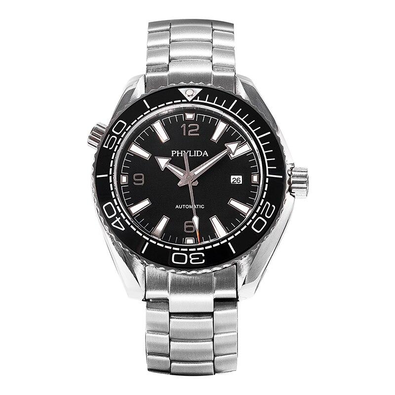 ساعة آلية للرجال 43.5 مللي متر باللون الأسود البحر ماستر أوشن Homage من الياقوت الكريستال السيراميك إدراج صلب مقاوم للصدأ