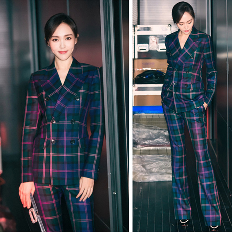 S-3XL high quality new fashion plaid print Slim thick fabric suit double-breasted shirt flared trousers women's suit 50