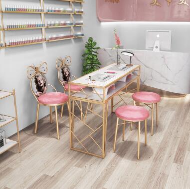 새로운 네일 테이블과 의자 세트 그물 레드 싱글 더블 페인트 ins 철 네일 테이블 특별 가격 경제