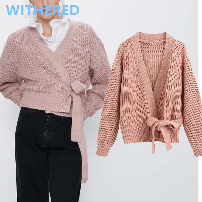 Withered 2020 England Simple Solid Vintage Kimono Sashes Bandage Loose Short Knitting Jackets Cardigans Women Sweater Women Tops