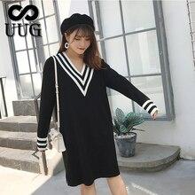 UUG PLUS ขนาดผู้หญิงหลวม V คอชุดฤดูใบไม้ร่วงฤดูหนาวแขนยาวถัก Vestidos XXXL XXL เสื้อผ้าผู้หญิง