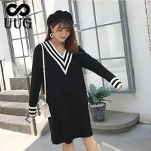 UUG Plus Size Women Straight Loose V Neck Dress Autumn Winter Long Sleeve Knitted Dress Vestidos XXXL XXL Women Clothing