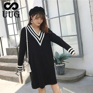 Image 1 - Uug Plus Size Nữ Thẳng Rời Cổ V Thu Đông Tay Dài Đầm Dệt Kim Vestidos XXXL XXL Áo