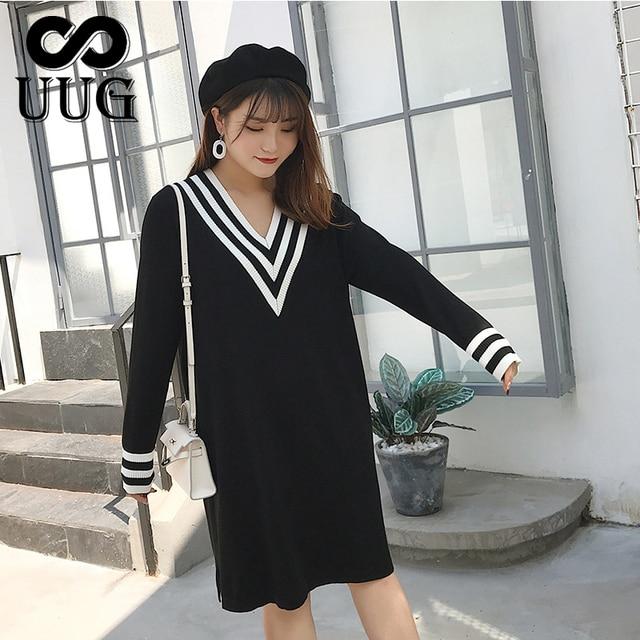 Uug Plus Size Nữ Thẳng Rời Cổ V Thu Đông Tay Dài Đầm Dệt Kim Vestidos XXXL XXL Áo