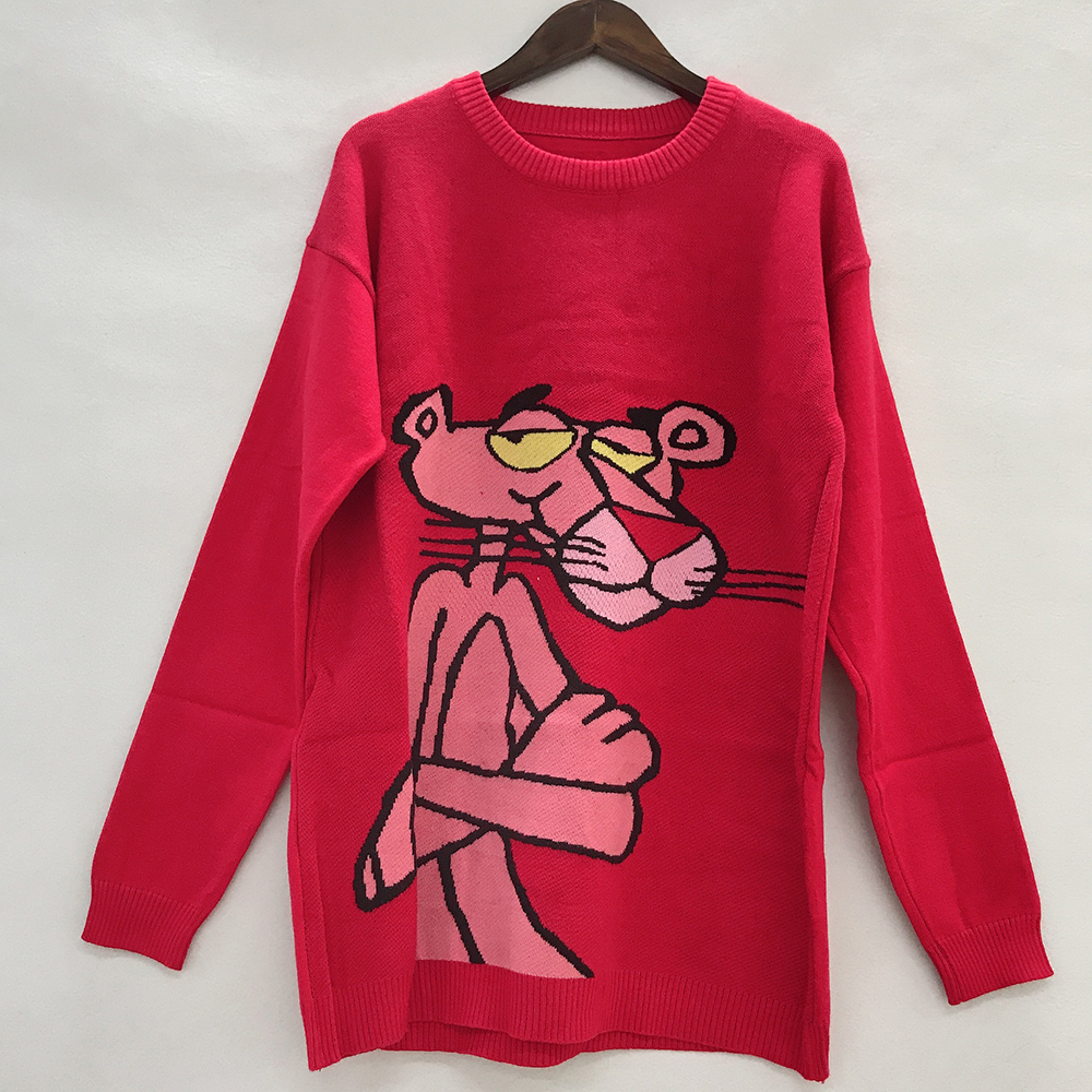 New Korean Pink Panther Women Sweater Cartoon Leopard Loose Sweater Pullover Autumn  Winter Fashion Garfield Girl Clothes Tops