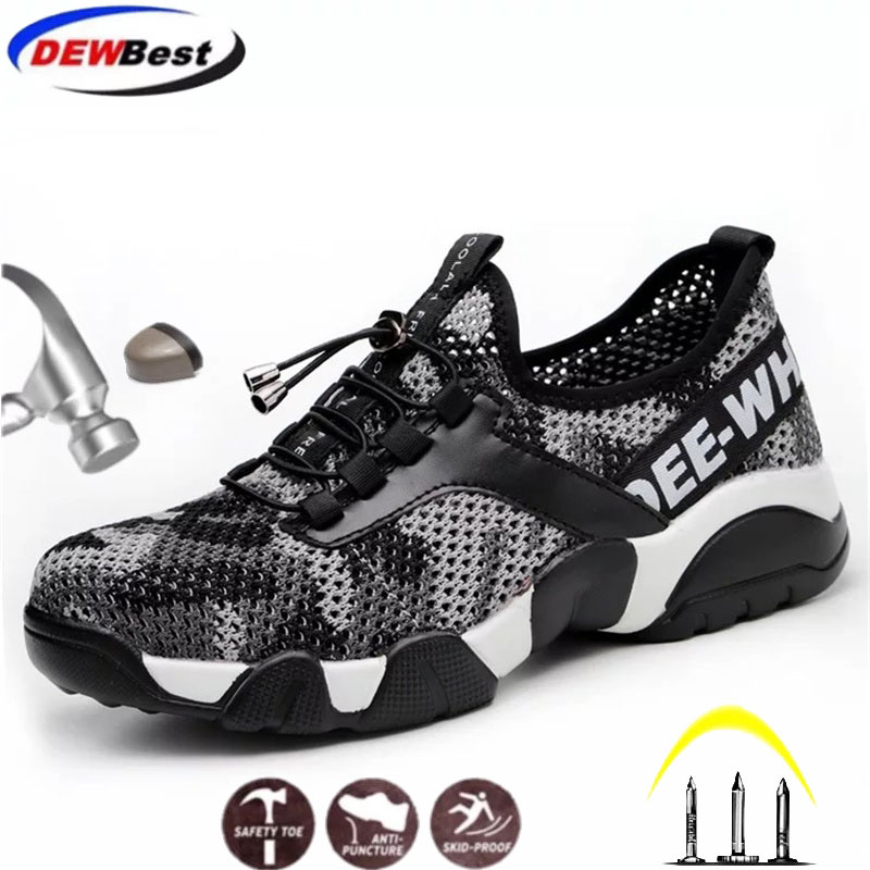 Men Protective shoes breathable work safety shoes men's Lightweight steel toe shoes anti-smashing piercing mesh casual sneakers