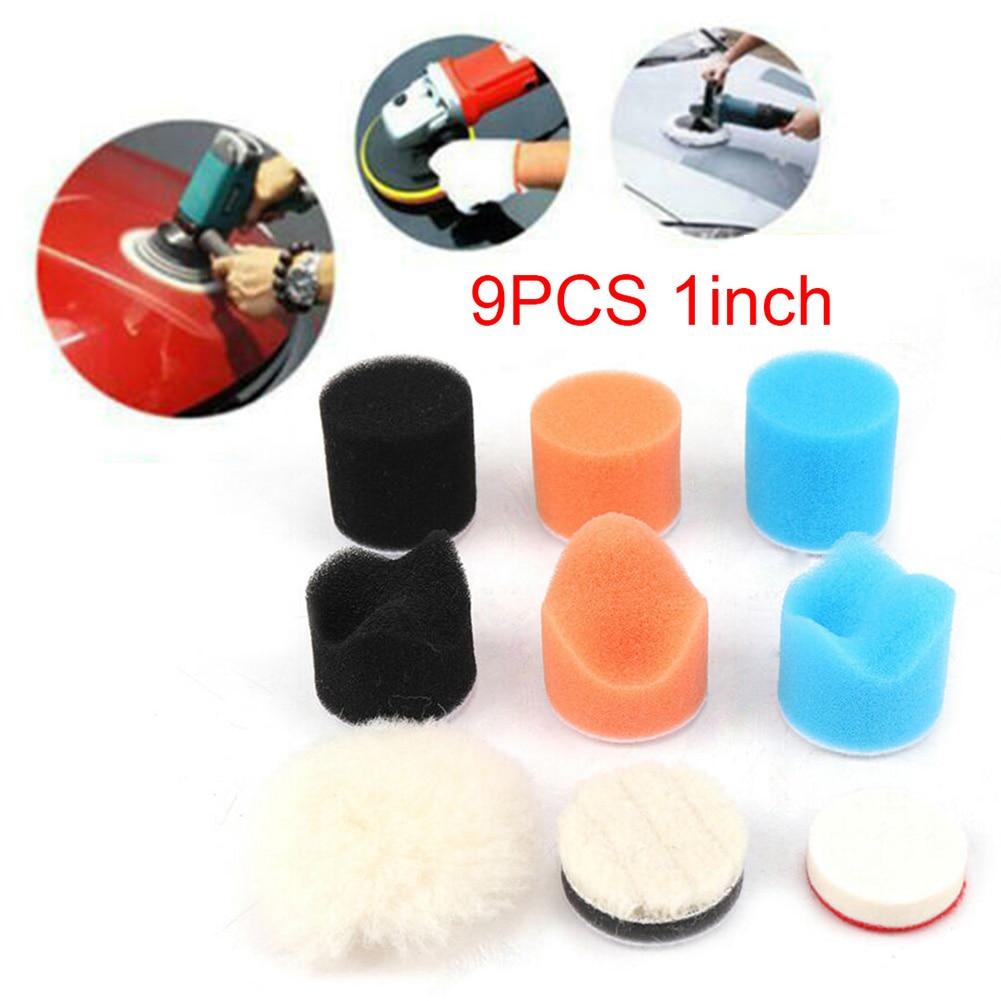 9pcs 1IN Car Sponge Polishing Drill Adapter Polisher Buffer Buffing Pads Polishing And Sealing Glaze