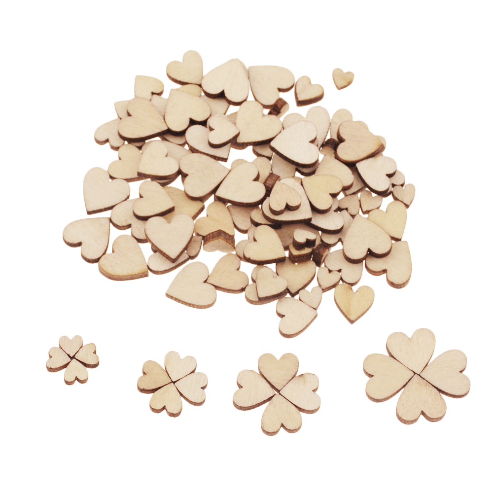 100pcs DIY Laser Cutting Love Heart Shape Wood Piece Decorative Embellishment Supplies 4 Sizes 6 8 10 12 Mm Mixed