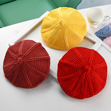 Осенне-зимний детский берет для маленьких мальчиков и девочек, Корейская однотонная шляпа с мультяшными бутонами, весенние детские шапки-береты с тыквой