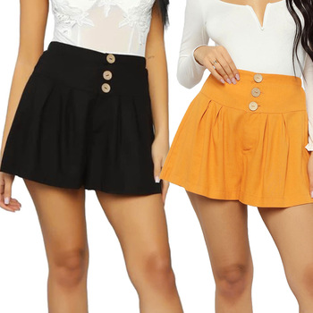 Women's Shorts Spring Summer Shorts Polyester Women Retro Casual Fit Buttons Waist Shorts High Waist String Loose Womens Shorts lettering waist checked dolphin shorts