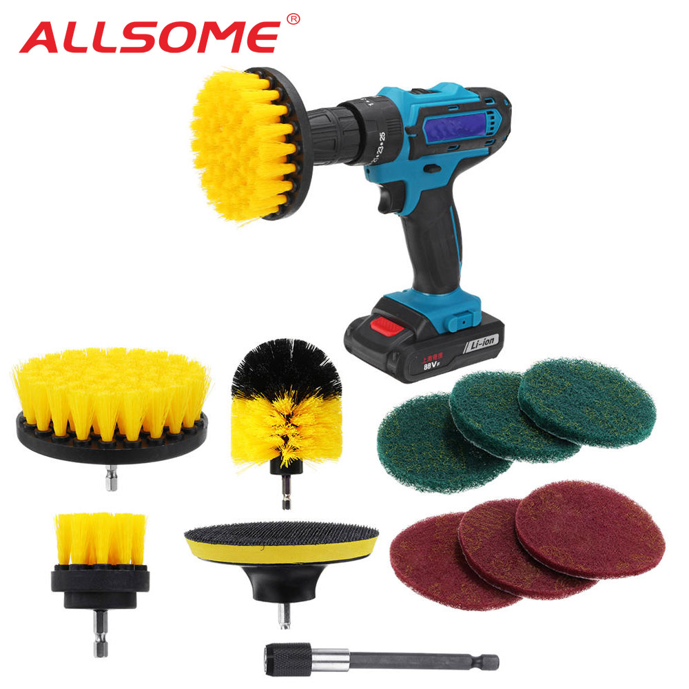 ALLSOME 11Pcs Electric Drill Cleaning Brush With Sponge And Extend Attachment Tile Grout Power Scrubber Tub Cleaning Brush