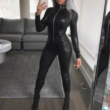 2019 Spring Black PU Leather Skinny Jumpsuit Women Long Sleeve Bodycon Front Zipper Club Rompers AE219(China)