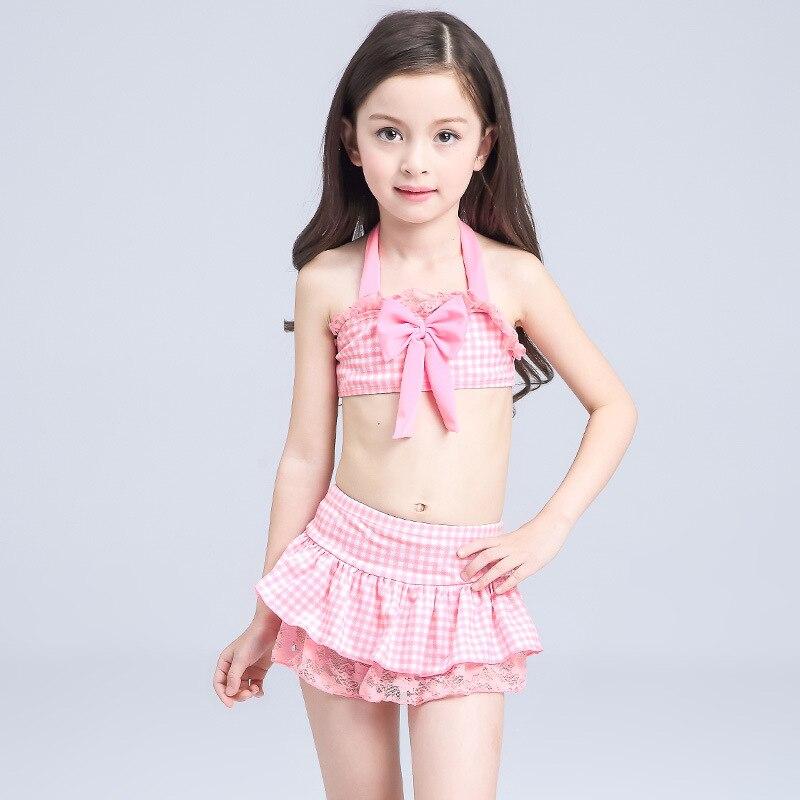KID'S Swimwear Women's Cute Students Sun-resistant Baby Kids GIRL'S Bikini Split Type Big Virgin Girls Swimwear