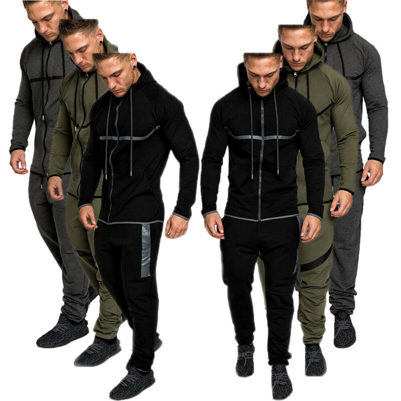 Men's Solid Color Zip Hoodie Classic Winter Hooded Sweatshirt Coat Tops Pants