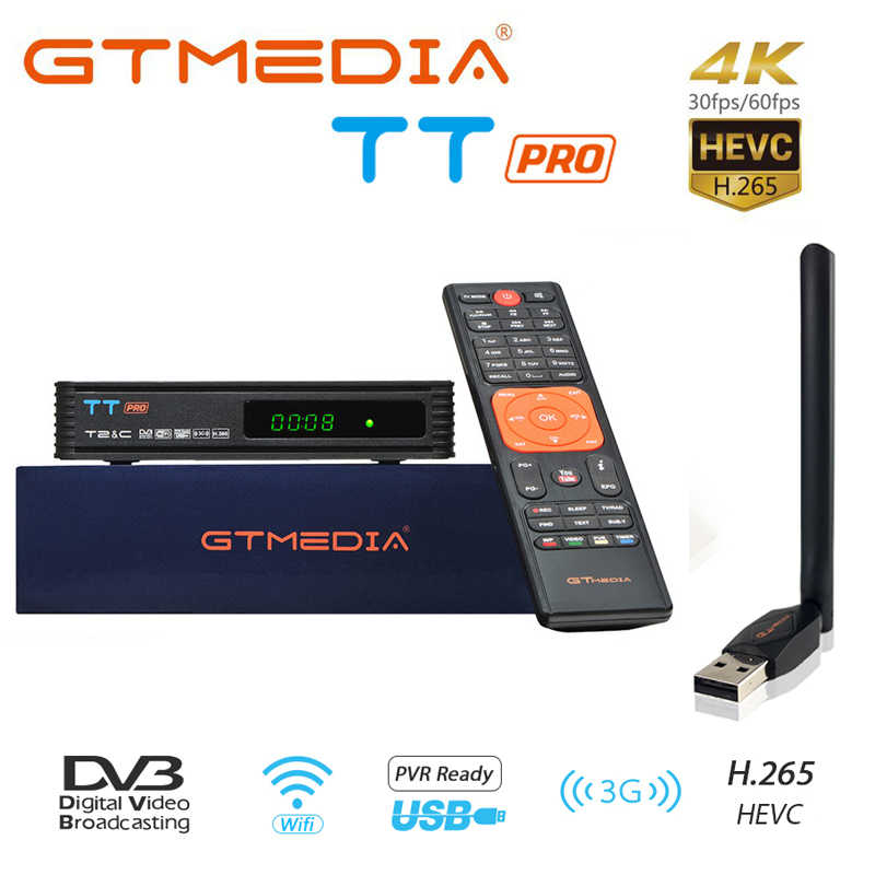 Gtmedia Tt Pro Satellietontvanger Tv Box Hd Digitale Tv Tuner Dvb T2/C H.264 Ondersteuning Full Hd 1080P Voor Spanje Receptor Full Speed