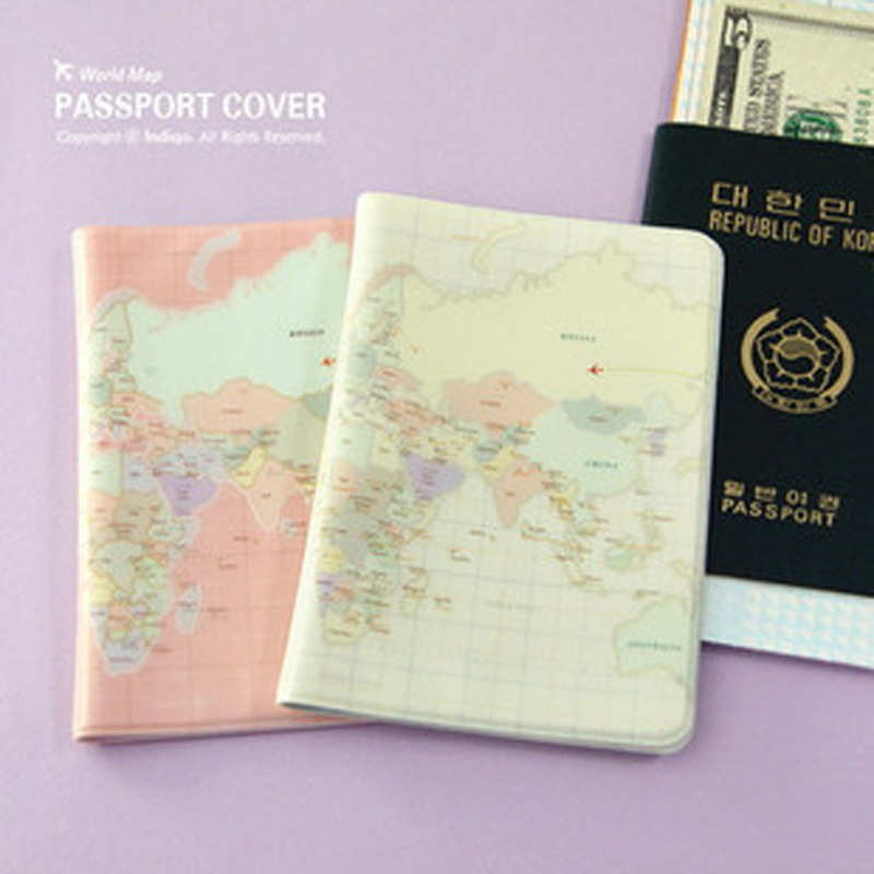 PACGOTH Multifunctional Short Map Pattern PVC Passport  Cover Waterproof Passport Holder Travel Cover Case Credit Card Holder