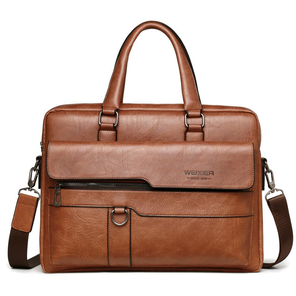 Fashion Men Briefcase 14 Inches Male Computer Bag PU Leather Handbag For Man Large Capacity Briefcases Business Men Shoulder Bag