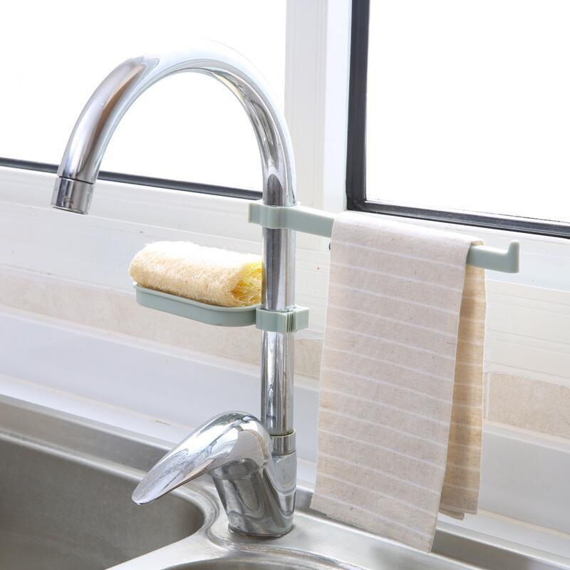 Plastic Faucet Drain Storage Rack Home Kitchen Sink Sponge Rag Bracket Rack Bathroom Towel Soap Box Shelf Hanging Storage Holder