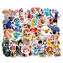 60pcs/bag Japanese Anime Fairy Tail Pvc Adhesive Waterproof Sticker Fashion Trunk Brand Laptop Bag Stickers Toys