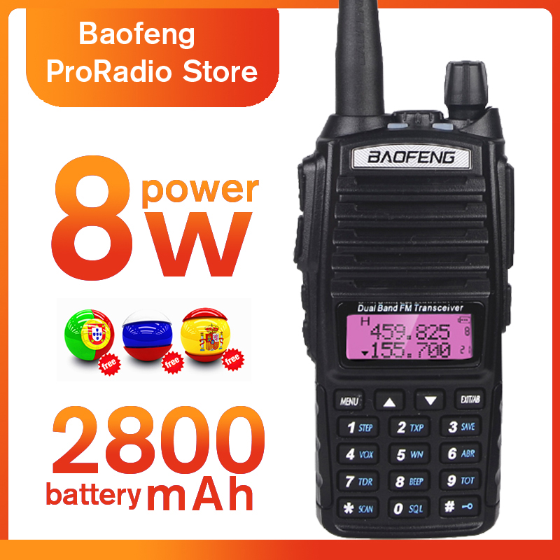 Power 8W Walkie Talkie BaoFeng UV 82 Dual Band UV82 Two Way Radio 136 174/400 520MHz FM Transceiver For Hunting With Headphones