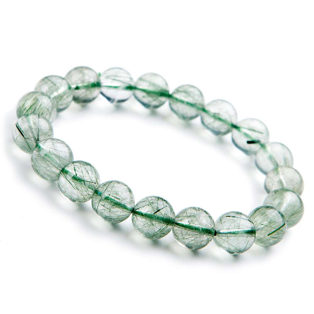 10mm From Brazil Natural Green Rutilated Quartz Gemstone Bracelet For Women Female Stretch Crystal Round Bead Wealthy AAAAA