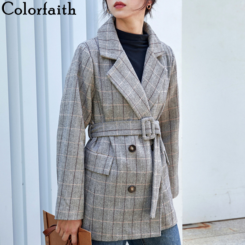 Colorfaith New 2019 Autumn Winter Women Woolen Jackets With Belt Pockets Plaid Office Lady  England Style Female Ladies JK8208