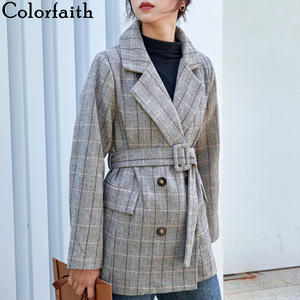 Colorfaith New 2019 Autumn Winter Women Woolen Jackets With Belt Pockets Plaid Office Lady  England Style Female Ladies JK8208