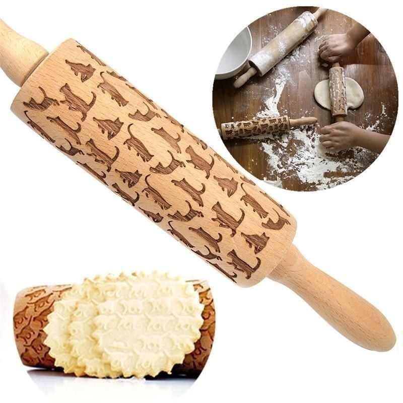 Di natale Goffratura di Rolling Spille Biscotti di Cottura Noodle Biscotto Torta Del Fondente Della Pasta Inciso Rullo Renna Fiocco di Neve Rullo Kitch